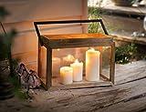 Dekoleidenschaft Laterne 'Natur' aus Holz & Metall & Glas, Kerzenhalter, Kerzenständer