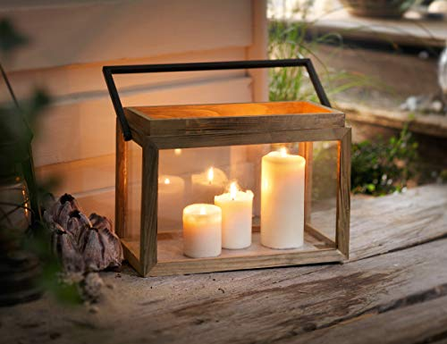 "Dekoleidenschaft Laterne \""Natur\"" aus Holz & Metall & Glas, Kerzenhalter, Kerzenständer"