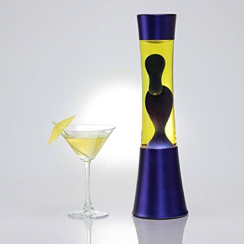 Stilvolle Lavalampe Ringo mit blauer Lava in gelber Flüssigkeit/Gestell in Dunkelblau/mit Kabelschalter/inkl. E14 40W/Lavaleuchte für Tisch Schlafzimmer/stimmungsvoll