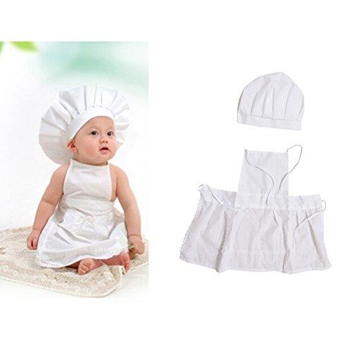 (Niedliche Baby weiß Kochen Chef Schürze und hat Foto Fotografie Prop Outfit Kostüm für Neugeborene Infant Kleinkind Kids)