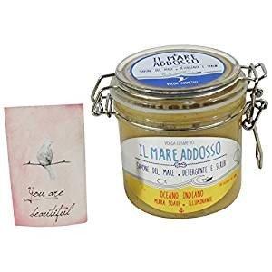 Savon de la Mer Natural - Savon Exfoliant Douce pour Mains, Visage, Corps - avec Myrrhe pour éclaircir la peau - Fabriqué en Italie