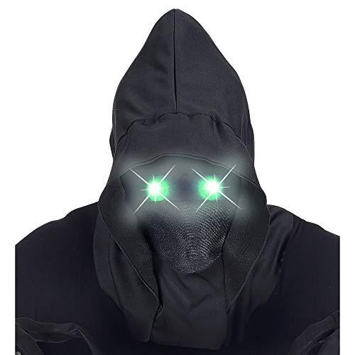 WIDMANN 07809 Maske Unsichtbares Gesicht mit Kapuze und leuchtenden Augen, Schwarz, ()