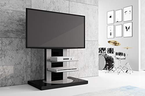 HU Fernsehtisch Roma H-777nw Schwarz oder Weiß Hochglanz 360° drehbar TV Möbel TV Rack LCD inkl. TV-Halterung (Schwarz Hochglanz) (Lcd Tv-möbel)