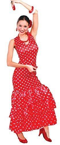 Damen Sexy Flamenco Tänzer Rot/weiß Gepunktet Spanisch International Kostüm Kleid Outfit 12-14 - Rot, (Kostüme Spanischer Kinder Tänzer)