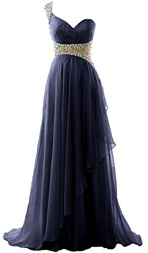 MACloth Elegant One Shoulder Chiffon Long Prom Dress 2018 Formal Evening Gown Dark Navy