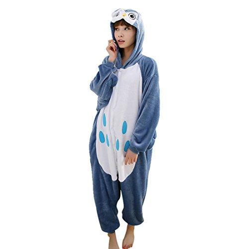 Vertvie Femme/Homme Unisex Animaux Combinaison Pyjama Flanelle Tenue Onesie Chaud Costume Pattes d'Animaux Pantoufle Chausson pour Halloween Cospaly Soirée de Déguisement Hibou
