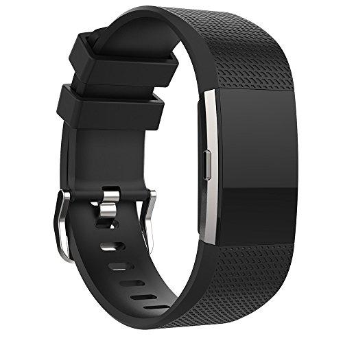 Preisvergleich Produktbild Fitbit Charge 2 Armband, iHee 2017 Neue Mode Sport Silikon Armband Bügel Band für Fitbit Charge 2 (BK)
