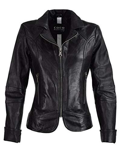 COCO BLACK LABEL since1986 Kurze Damen Jacke mit Reverskragen Bikerjacke Klassische Lederjacke Mariana, Größe:36, Farbe:Schwarz (Prime)