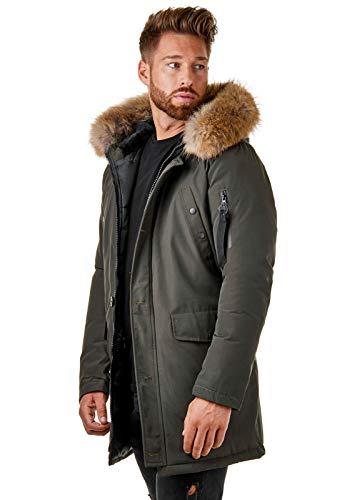 BR1845 Herren Winter-Jacke Echtfell Parka Gefüttert Schwarz Khaki, Größe:M, Farbe:Khaki -