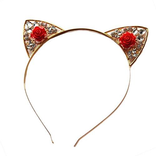 Lurrose Nette Katzenohren Stirnband Strass Rose Katzen Crown Haarband Stirnband für Party Kostüm Gefälligkeiten Foto Requisiten (Rot) (Ohren Stirnband Katze Strass)