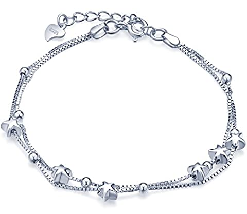 Unendlich U Elegant Sterne Beads Damen Charm-Armband 925 Sterling Silber Doppel Armkette Verstellbar Armkettchen, (Halskette Doppel-strang-halskette)