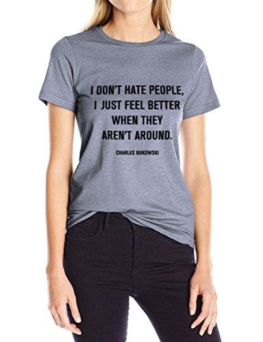 Nlife Frauen Rundhals Lässig Ich Hasse Nicht Menschen Brief Drucken Kurzarm Lose Fit Top Bluse Shirt