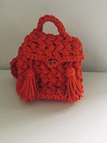 Eleganter Kinderrucksack 20/16/22 cm, Farbe rot, hochwertiges Strickgarn