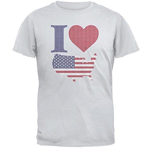4. Juli Herz Ich liebe Amerika Halbton-Herren-T-Shirt Ice Grey