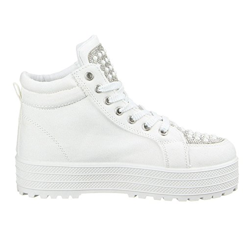 Ital-Design - Pantofole a Stivaletto Donna Bianco (bianco)