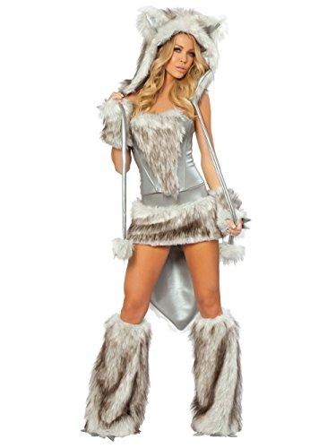 stüm Mehrfarbig Grau Einheitsgröße 36-38 Gr. Einheitsgröße 36-38, Mehrfarbig - Grau (Womens Wolf Halloween Kostüm)
