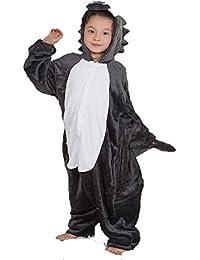 Pijamas de una Pieza de Dibujos Animados Unisex para niños, Servicio de Forma Animal de Lobo Gris Grande, Pijamas Familiares Ropa de…