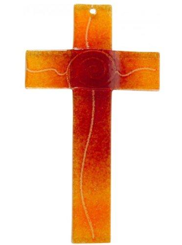 MaMeMi Glaskreuz Spirale orange/rot, Breite 3,2 cm * 20 x 11 - Religiöse Kinder Kostüm