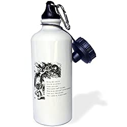 3dRose wb_193782_1 Which Road Do I Take Cheshire Cat Alice in Wonderland-John Tenniel Sports Water Bottle, 21 oz, White