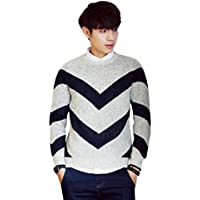 Byqny Hombre Casual Suéter de Punto Cuello Redondo Doble V Camisa Inferior Sweater Manga Larga