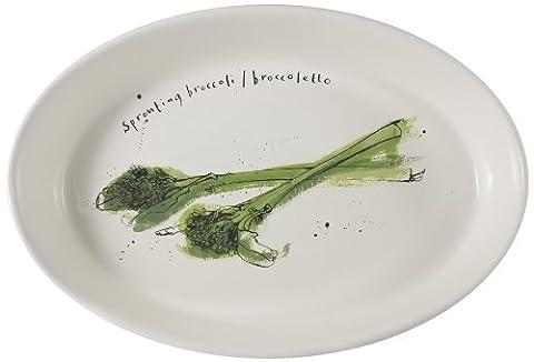 Ruth Jackson Plat ovale en porcelaine Motif brocolis Coloris assortis