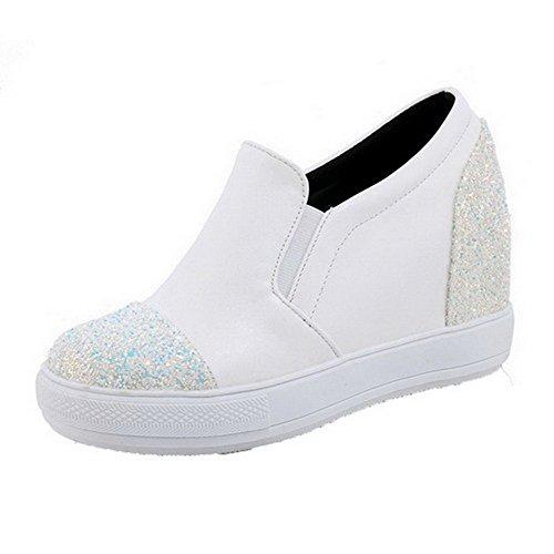 VogueZone009 Damen Ziehen Auf Niedriger Absatz Blend-Materialien Rein Rund Zehe Pumps Schuhe Weiß