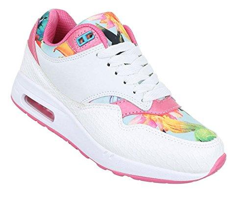 Damen Freizeitschuhe Schuhe Runner Sportschuhe Multicolor Sneakers Schwarz Rot Weiß 36 37 38 39 40 41 Weiß