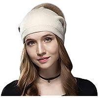 GHC Gorras y Sombreros Mujeres Chunky Baggy Hat Knit Slouchy Beanie Sombrero de Piel sintética Pompom Winter Soft Warm Cap (Color : Blanco, Size : Freesize)