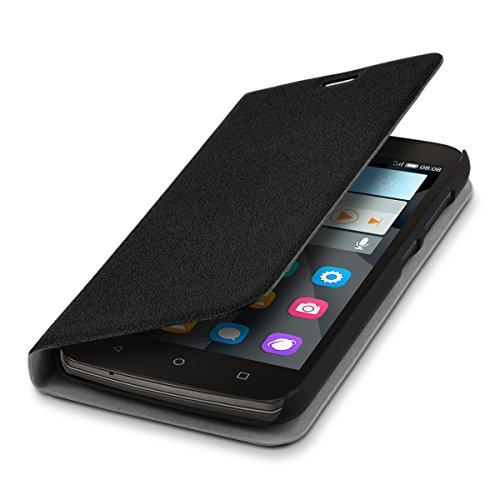 kwmobile Hülle für Huawei Y625 - Bookstyle Case Handy Schutzhülle Kunststoff - Flipcover Klapphülle Schwarz