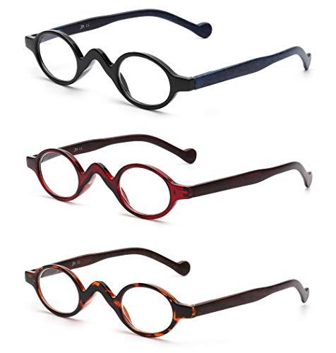 JM 3 Pack Klein Oval Lesebrille Vintage Federscharnier Gläser für Leser Damen +1.75 Schwarz&Rot&Schildkröte