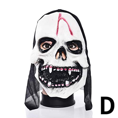 Xiaodu Halloween Maske Latex Mann Spuk Haus Verkleiden Prom Room Escapes Horror Zombie Maske 6,D