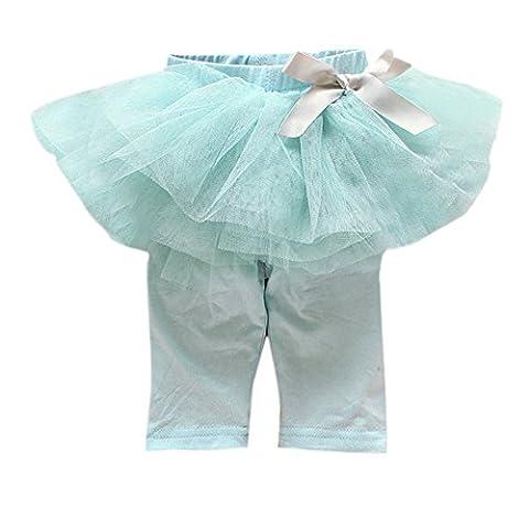 Loveble Kleinkind Mädchen Spitze Rüsche Hosen Bowknot Tutu Shorts Midi Bottoms Süßigkeiten Farbe Röcke für 0-3 Jahre ((Blau))