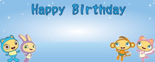 Happy Birthday Waybuloo Piplings Design Small Personalised Vinyl PVC Banner - 4ft x 2ft