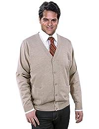 Premium Cardigan/Strickjacke Herren Beige - Wolle/Woolmark-Qualität-Schurwolle - Öko-Tex - waschmaschinenfest