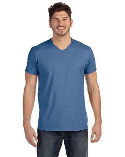 Hanes Mens Nano-T V-Neck T-Shirt_Black_Small Vintage Denim