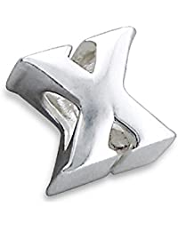 So Chic Joyas - Abalorio Charm letra X inicial - Compatible con Pandora, Trollbeads, Chamilia, Biagi - Plata 925