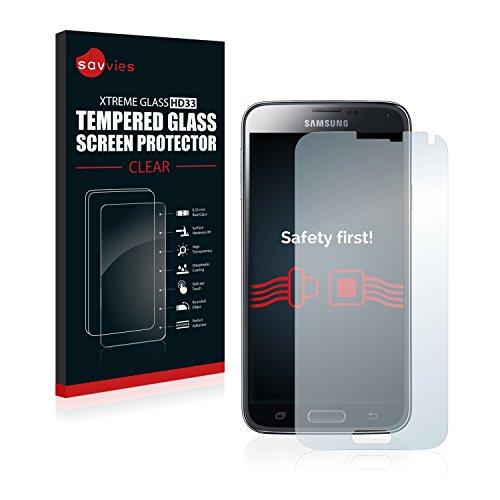 Savvies Panzerglas kompatibel mit Samsung Galaxy S5 Duos LTE SM-G900FD - Echtglas Schutzfolie 9H