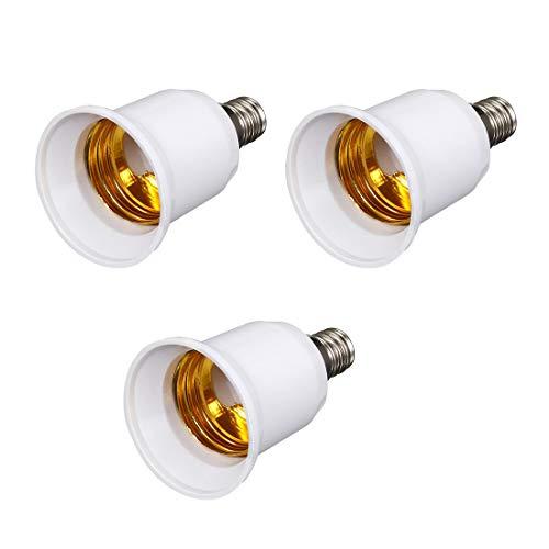 ZCHXD 3 Pcs E12 to E27 Adapter Chandelier Light Socket E12 to Medium Socket E26 E27 Converter Bulb Base Adapter -