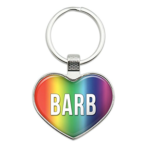 Metall Schlüsselanhänger Ring Rainbow I Love Herz Namen Buchse B Baba Barb (Barb-buchse)