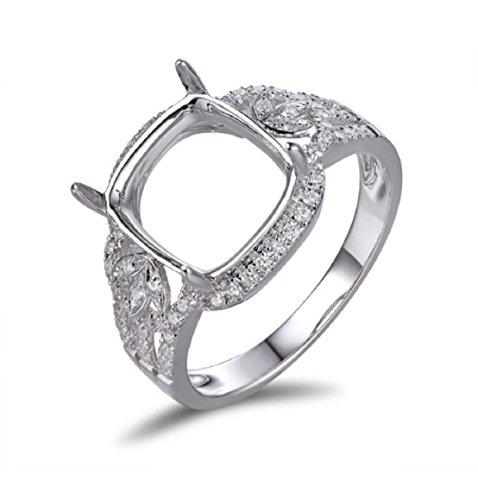 Gowe 10x 10mm Kissen Schnitt 14K Weiß Gold 0,37ct, natürliche Diamanten Verlobungsring Einstellung