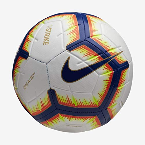 Nike pallone strike serie a, calcio unisex – adulto, bianco/bright mango royal blue, 5