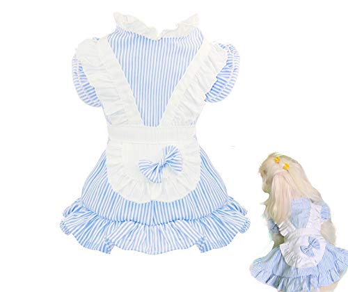 Puppy Face Hundekleid, Prinzessinnen-Kostüm für Kleine Hunde, Rosa, M(9-11 lbs), blau