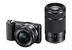 Sony Alpha A5000Y 20.1MP Digital SLR Camera (Black) with 16-50, 55-210mm Lens (ILCE-5000Y)