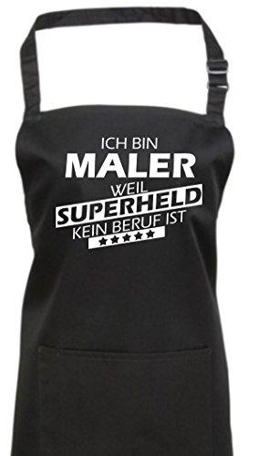 Kochschürze, Ich bin Maler, weil Superheld kein Beruf ist, Farbe black -