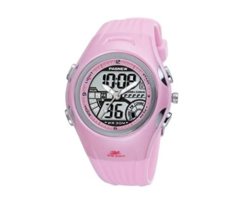 Pasnew Water-proof Dual Time Fashional Boys Girls Sport Watch Pink