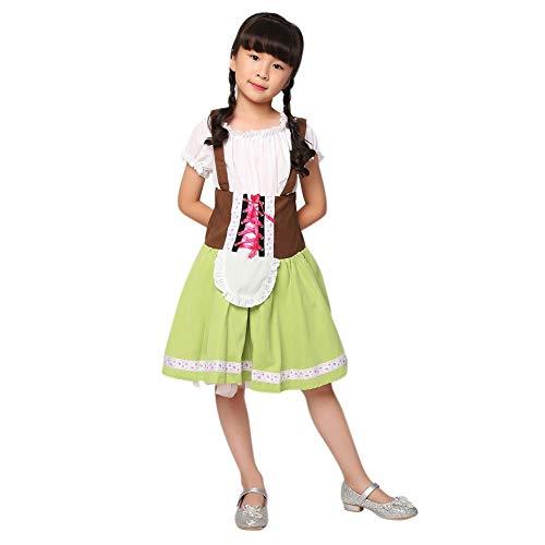Blaward Dirndl für Kinder, Dirndl Kostüm Kinder Kleid grün Heidi Oktoberfest Trachten-Kleid Mädchen Dirndl