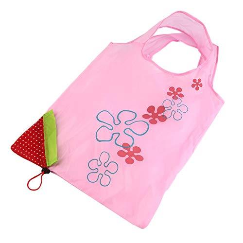 ouying1418 Faltbare Einkaufstasche, wiederverwendbar, umweltfreundlich, Rosa/Rot Pink