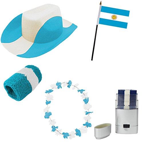 Sonia Originelli Fan-Paket-2 WM Länder Fußball Hut Kette Schminke Schweißband Flagge Farbe Argentinien