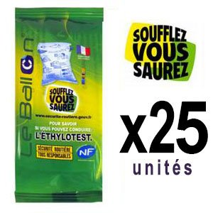 Lot de 25 Ethylotest (Norme NF)