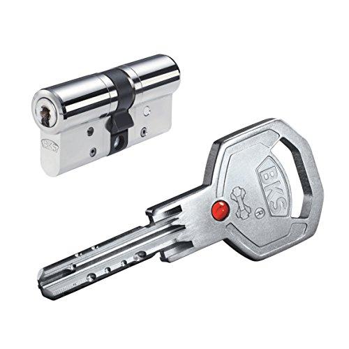 BKS Janus 46 ink. Sicherungskarte und 5 Schlüssel - 40 / 45 messing vernickelt mit Not und Gefahrenfunktion